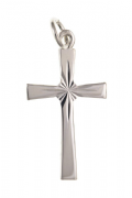 Sterling Silver diamond cut sun ray cross pendant